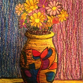 Vase in Oil Pastel